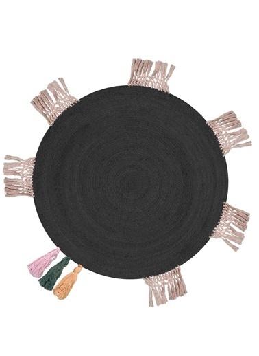 Giz Home Giz Home Et106 Etna 110X110 Jüt Natural Püskül Detaylı Black Halı Renkli
